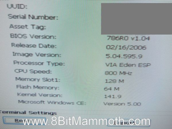 A photo of Windows CE system details for a t5520 thin client