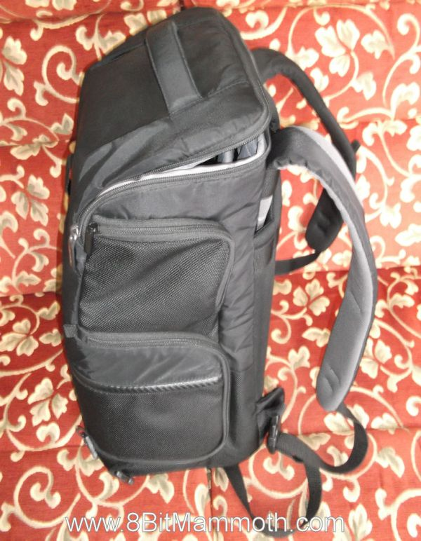 A side photo of a backpack