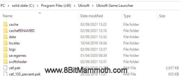An edited screenshot showing the cache folder