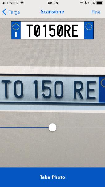 iTarga Aggiunta la scansione delle targa tramite fotocamera per riconoscerla automaticamente.