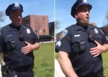 Baltimore cop coughs near residents
