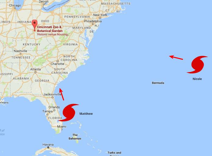 Path of the hurricanes Matthew and Nicole