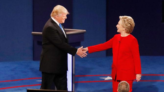 Clinton and Trump handshake