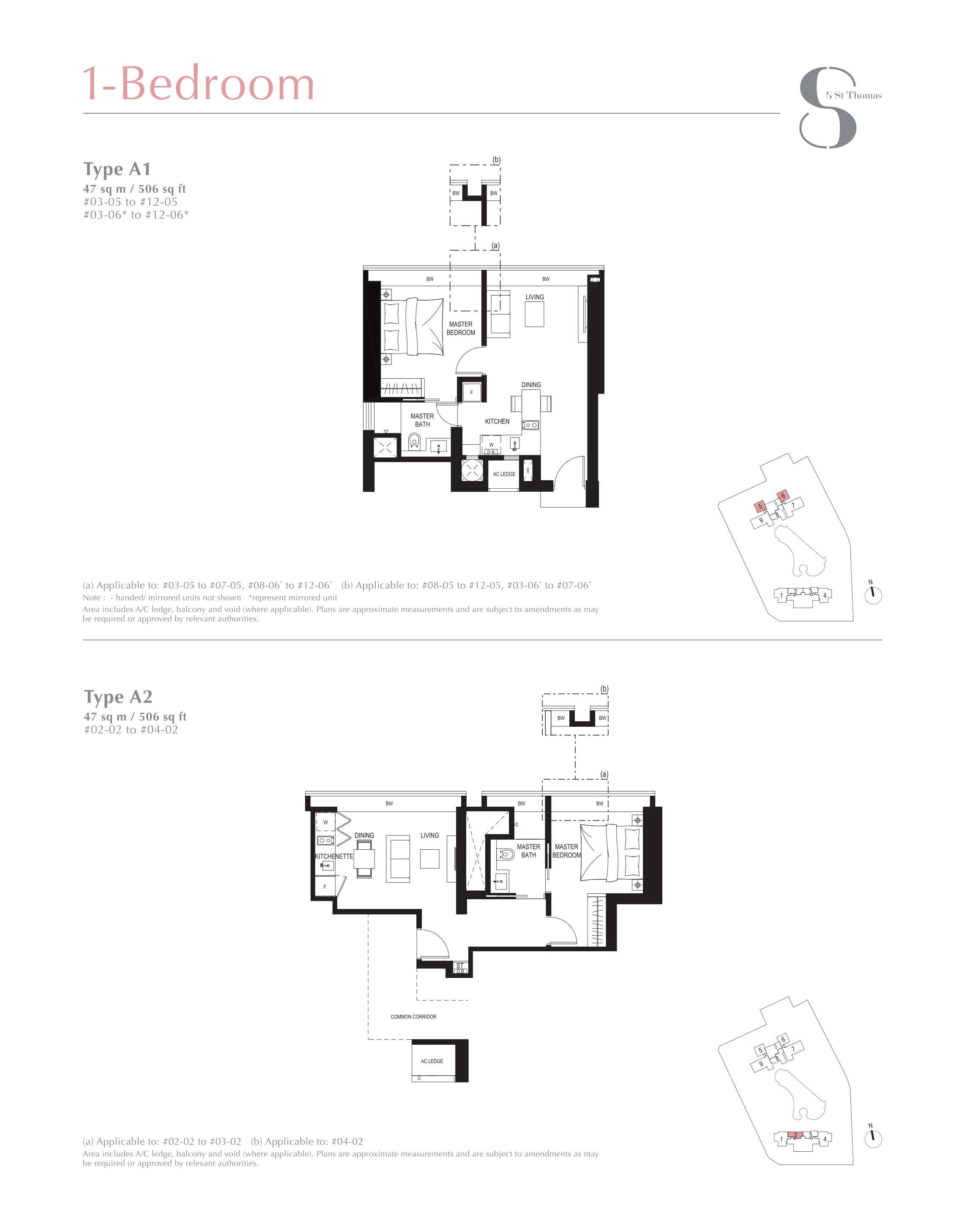 8 St Thomas 1 Bedroom Floor Plans Type A1 and A2