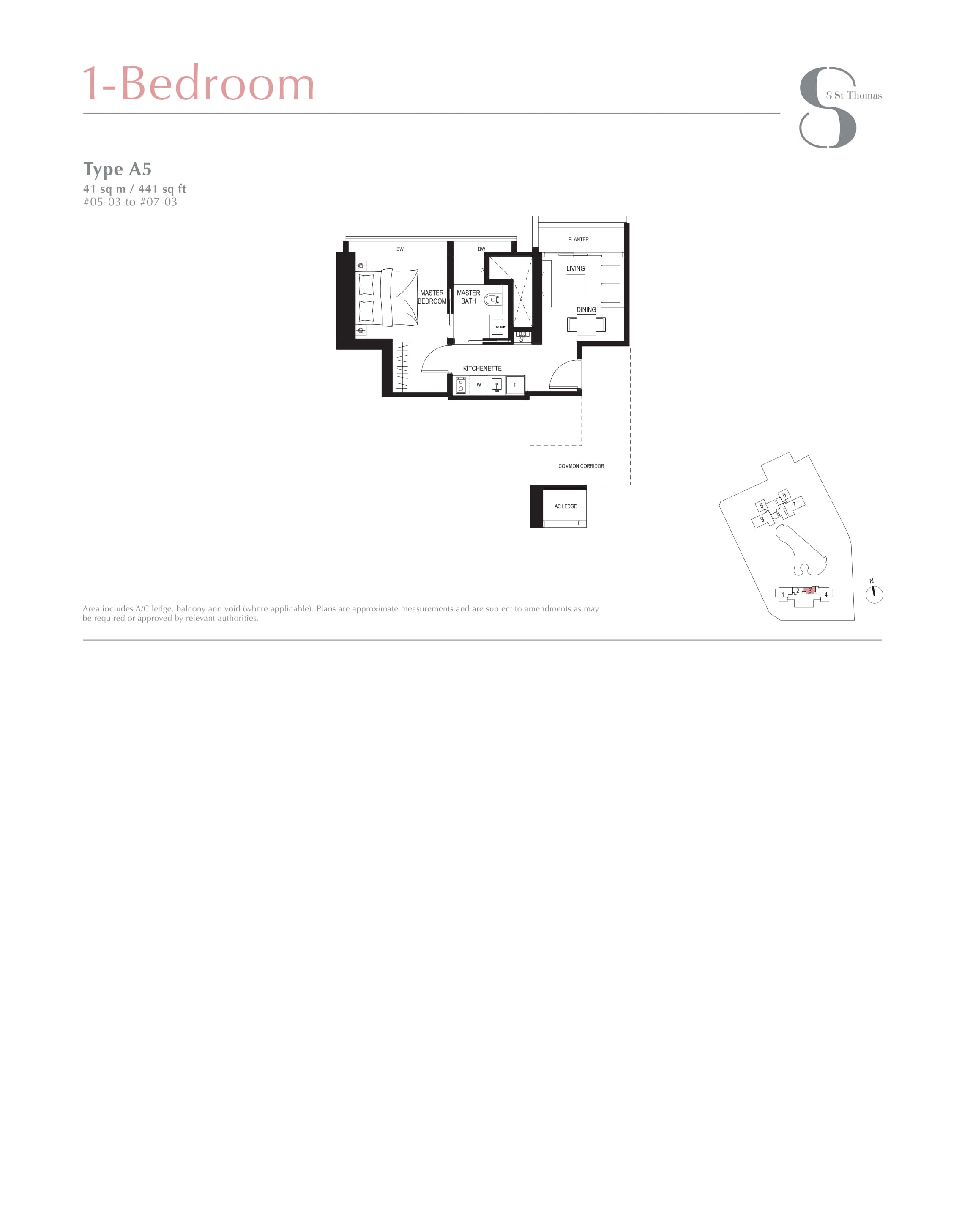 8 St Thomas 1 Bedroom Floor Plans Type A5