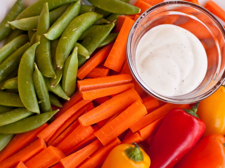 Raw Veggies with Dip - 90/10 Nutrition