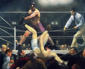 Firpo sending Dempsey outside the ring; painting by George Bellows, 1924