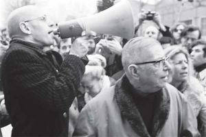 J.P. Sartre (right) at a demonstration with the younger philosopher Michel Foucault.