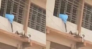 Spiderman' sneaks WASSCE answers to students on top floor with ladder