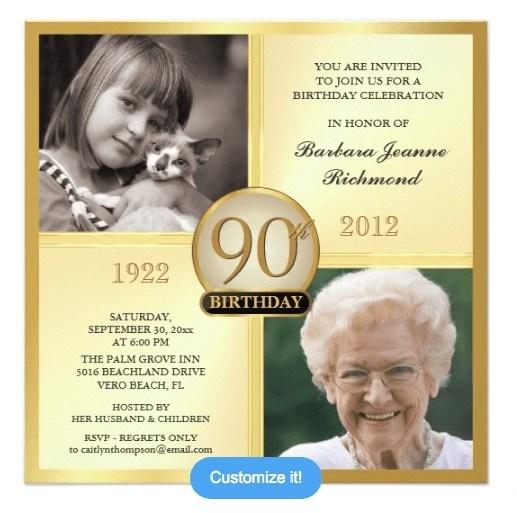 90th birthday invitations 30