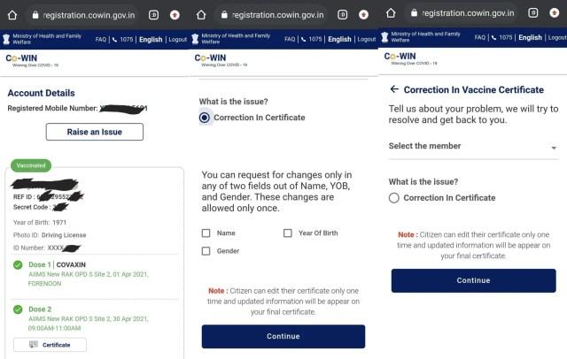 Covid vaccine certificate correction