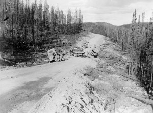 Troops and operational equipment travel on a road built by the black soldiers of the 93rd Regiment.