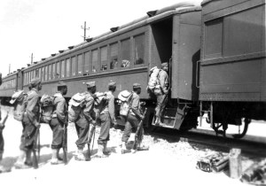 Black soldiers boarding the Rock Island RR on their way to build the Alaska Highway 1942.