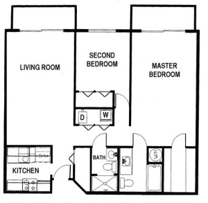 2 Bed / 2 Bath / 975 sq ft / Availability: Not Available / Deposit: $1,000