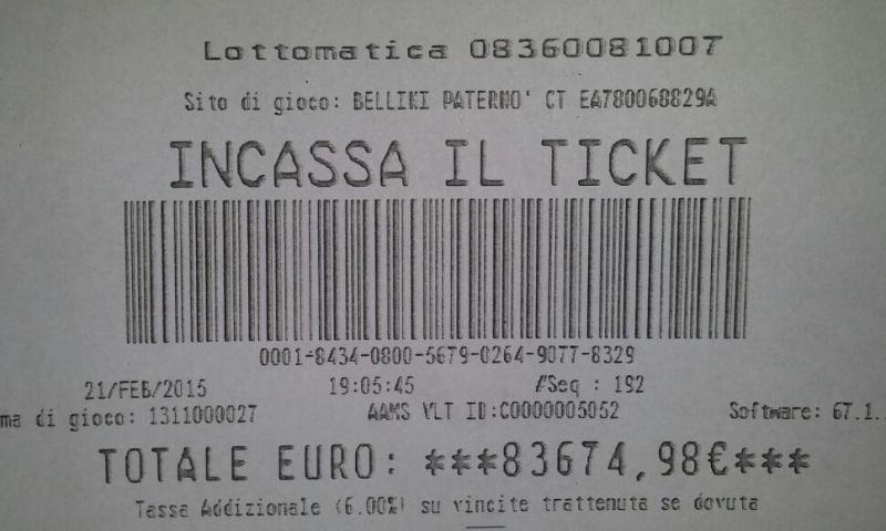 La dea bendata bacia Paternò: vinti 83 mila euro