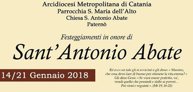 PATERNO': Festeggiamenti in onore di Sant'Antonio Abate 2018