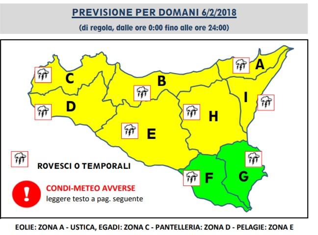 Allerta meteo gialla domani, il bollettino della protezione civile
