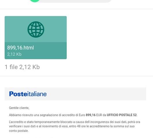 ATTENZIONE: False mail Poste italiane con accredito da ufficio postale 52