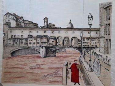 Murales dedicato a Dante, realizzato da studenti liceo artistico di Paternò