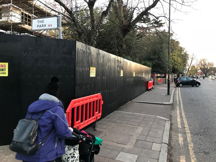 989 design bespoke plywood hoarding in Ealing