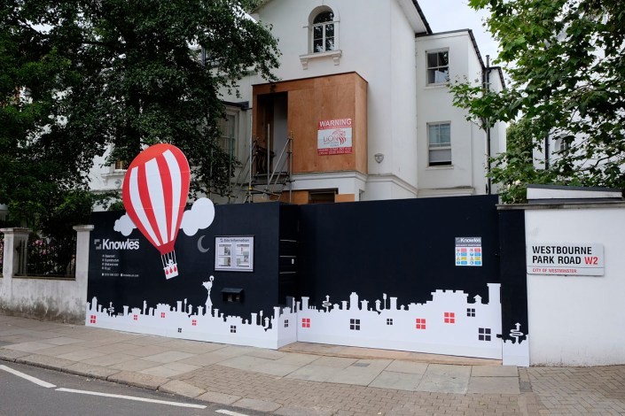 989 design vinyl graphics applied to hoarding in london