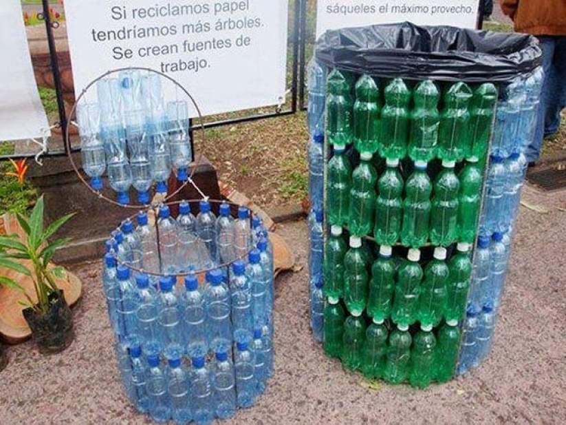 tempat sampah dari botol bekas