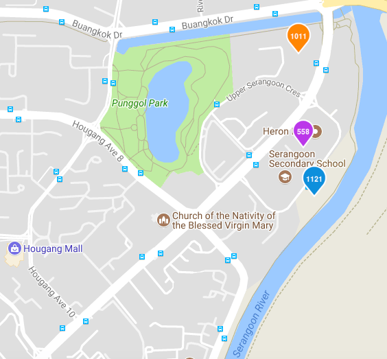 Riverfront Property in Singapore Hougang Map