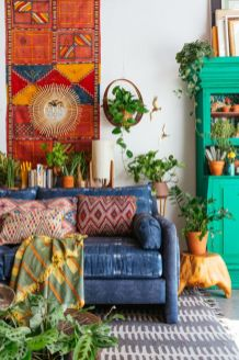 Modern Rustic Bohemian Living Room Design Ideas 14