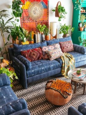 Modern Rustic Bohemian Living Room Design Ideas 15