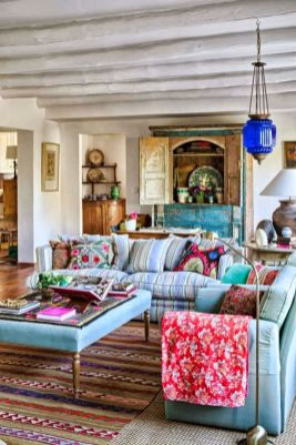 Modern Rustic Bohemian Living Room Design Ideas 42