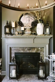 Scary But Classy Halloween Fireplace Decoration Ideas 44