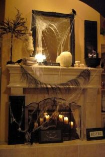 Scary But Classy Halloween Fireplace Decoration Ideas 62