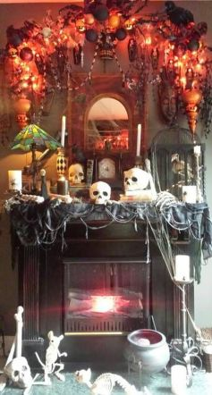 Scary But Classy Halloween Fireplace Decoration Ideas 76