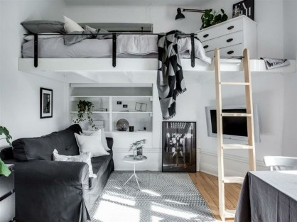 Totally Cool Tiny Apartment Loft Space Ideas 24