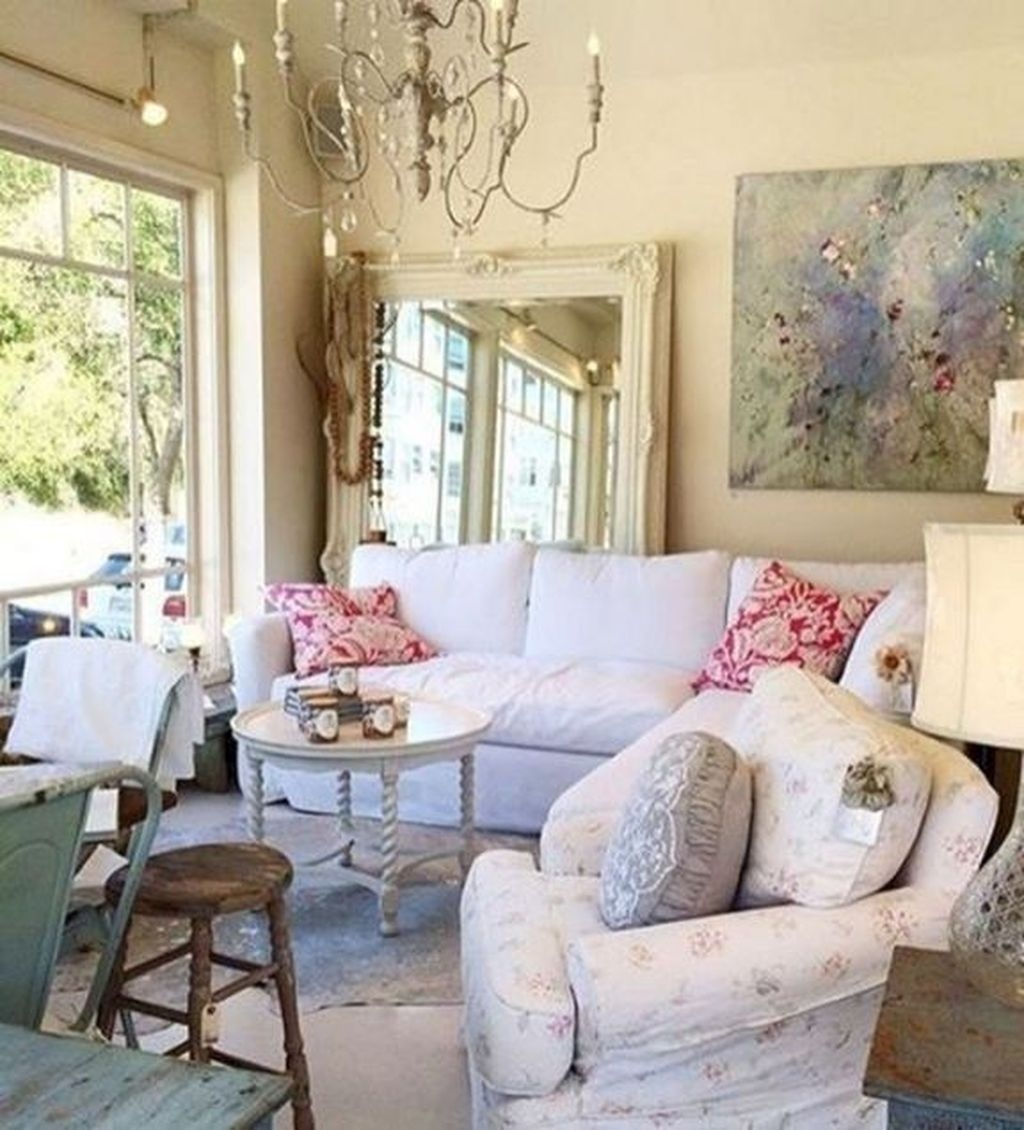 Cute Shabby Chic Farmhouse Living Room Decor Ideas 03