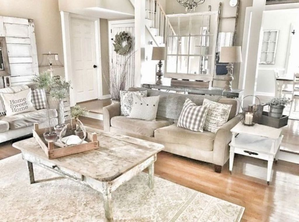 Cute Shabby Chic Farmhouse Living Room Decor Ideas 46