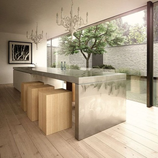 Stunning Stainless Steel Kitchen Tables Ideas23