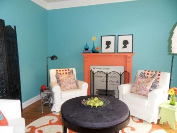 Enchanting Turquoise Living Room Ideas 41