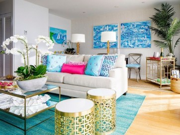 Enchanting Turquoise Living Room Ideas 42