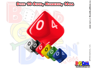 10 sided numbered dice, d10