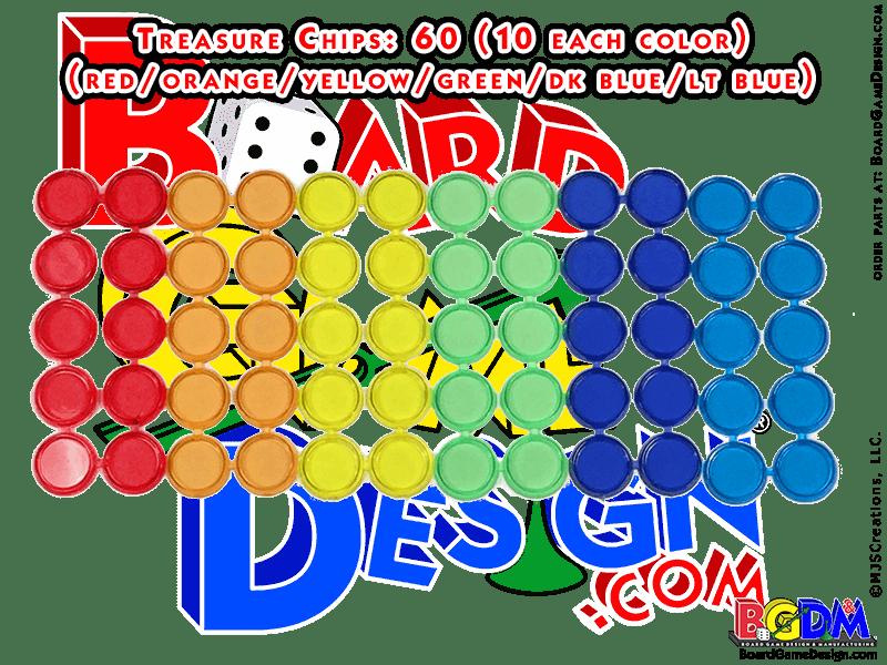 "60 Treasure Bingo Chips (Tiddlywinks) 1/2"""