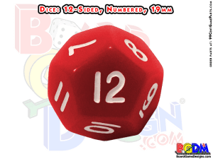 dice 12 sided numbered, 19mm, d12