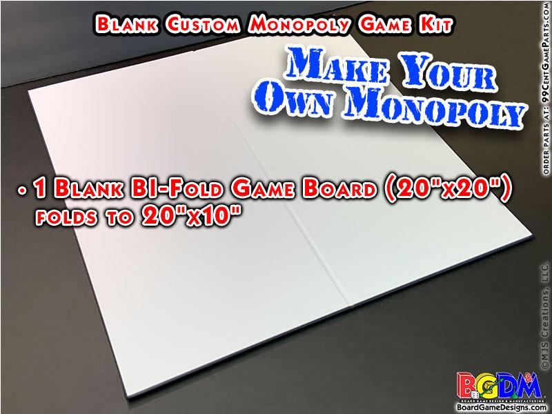 Blank Custom Monopoly Game Kit: Gameboard