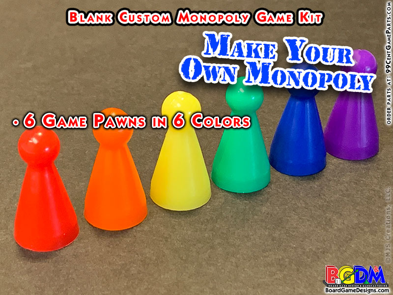 Blank Custom Monopoly Game Kit: Pawns