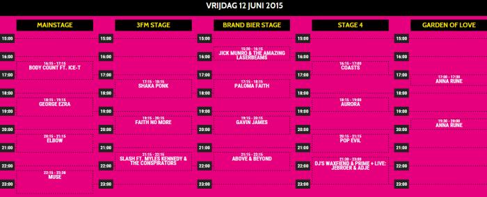 Pinkpop 2015 presenteert tijdschema vrijdag