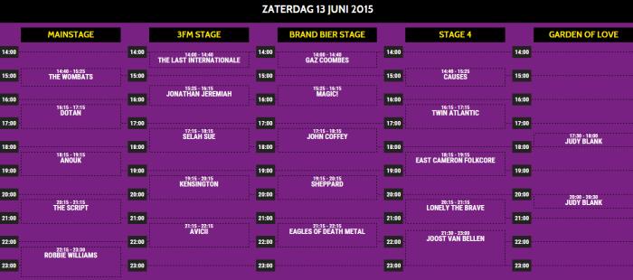 Pinkpop 2015 presenteert tijdschema zaterdag