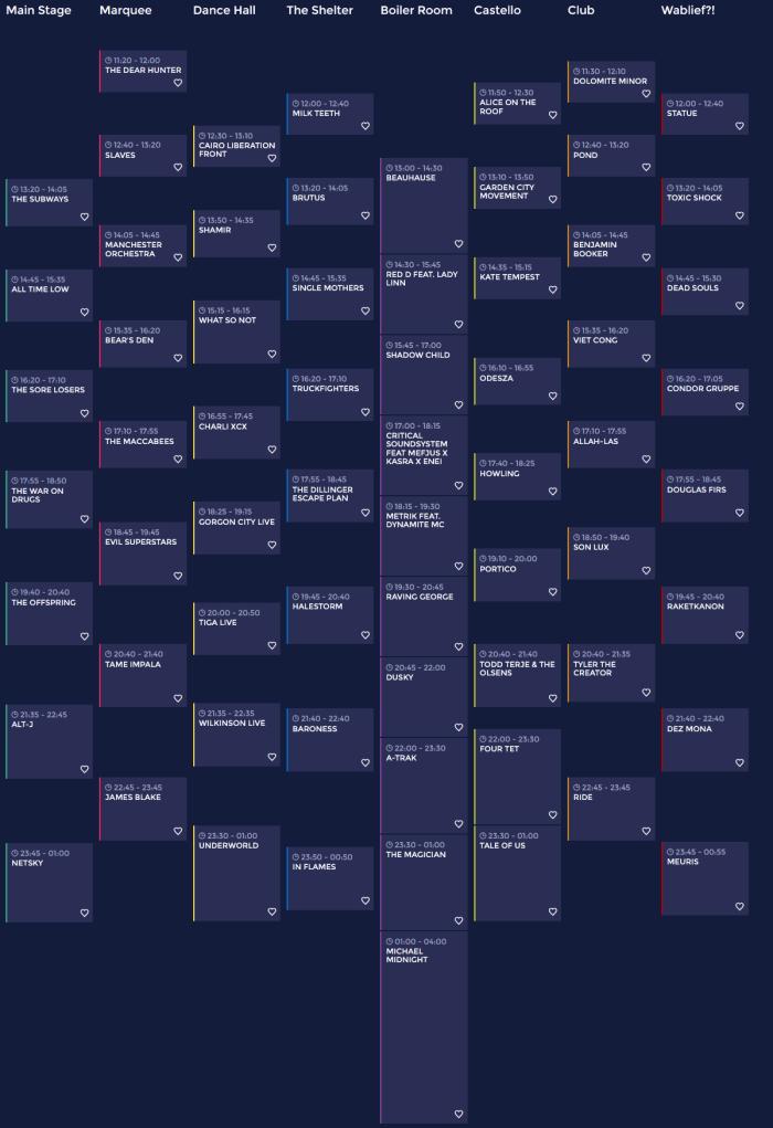 Zaterdag timetable & app Pukkelpop 2015 online