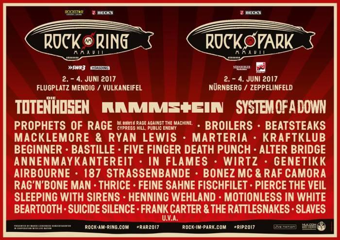 Tweede portie namen Rock Am Ring & Rock Im Park