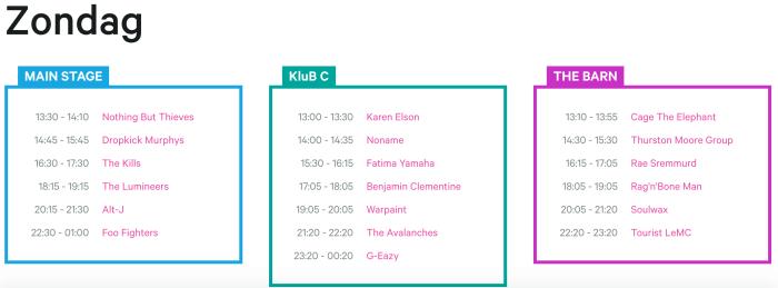 Zondag affiche en timetable Rock Werchter 2017 compleet