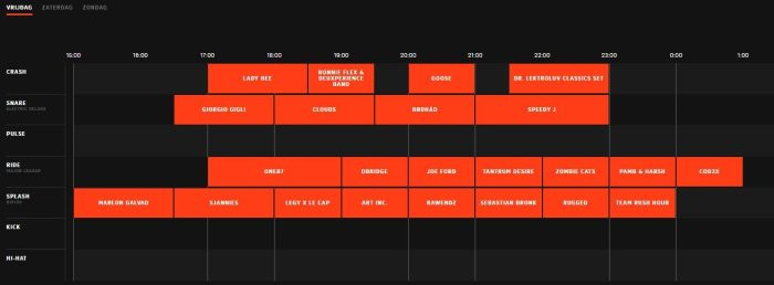 Timetable We Are Electric 2017
